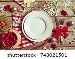Small photo of Christmas table place setting
