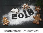 photo with figures 2018  new... | Shutterstock . vector #748024924