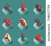 spinners color isometric icons   Shutterstock .eps vector #748027759