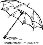 sketch of an umbrella on white... | Shutterstock .eps vector #748030579