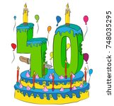 40 birthday cake with number... | Shutterstock .eps vector #748035295