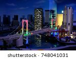 Small photo of ODAIBA, JAPAN- OCTOBER 25, 2017 : Lego Lands show building Lego for view ODAIBA City and Lighting very excite and beautiful.