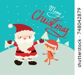 christmas greeting card with...   Shutterstock .eps vector #748042879