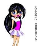 fashion cartoon girl | Shutterstock . vector #74804404