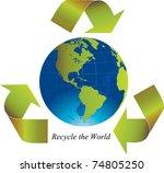 green arrows around the world... | Shutterstock .eps vector #74805250