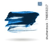 blue brush stroke and texture.... | Shutterstock .eps vector #748053217