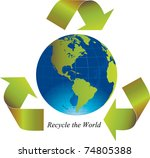 green arrows around the world... | Shutterstock . vector #74805388