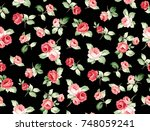 rose flower pattern with... | Shutterstock . vector #748059241