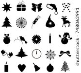 christmas icons set | Shutterstock . vector #748062991