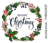merry christmas lettering... | Shutterstock .eps vector #748063429
