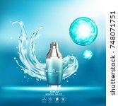 mineral water splash serum or... | Shutterstock .eps vector #748071751