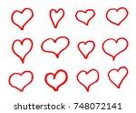 hand drawn vector hearts | Shutterstock .eps vector #748072141
