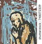 person praying   Shutterstock .eps vector #748072339
