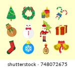 christmas fun vector icon pack   Shutterstock .eps vector #748072675