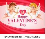 angels for valentine's day | Shutterstock .eps vector #748076557