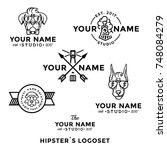 logo hipsters set for barber... | Shutterstock .eps vector #748084279