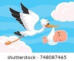 cartoon stork carrying a cute... | Shutterstock .eps vector #748087465