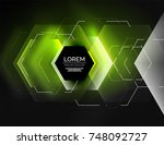 digital techno abstract... | Shutterstock .eps vector #748092727