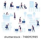 people shopping in supermarket. ... | Shutterstock .eps vector #748092985