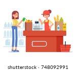 woman shopping in supermarket.... | Shutterstock .eps vector #748092991