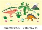 jurassic dinosaurs world kids... | Shutterstock .eps vector #748096741