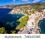 aerial view over assos... | Shutterstock . vector #748102585