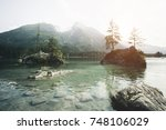 famous lake hintersee. location ... | Shutterstock . vector #748106029