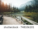 famous lake hintersee. location ... | Shutterstock . vector #748106101
