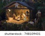 christmas creche with joseph... | Shutterstock . vector #748109431