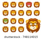 cute lion face emoticon emoji... | Shutterstock .eps vector #748114015