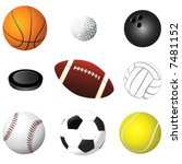 sport balls detail vector | Shutterstock .eps vector #7481152