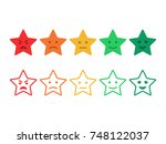 feedback emoticon stars. survey ... | Shutterstock .eps vector #748122037
