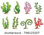 set of sea weed vector | Shutterstock .eps vector #748123207