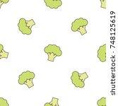 broccoli on white background... | Shutterstock .eps vector #748125619