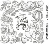 round frame with thanksgiving... | Shutterstock . vector #748131004