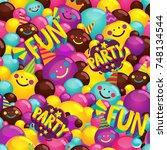 happy birthday ball. vector... | Shutterstock .eps vector #748134544