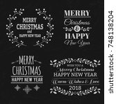 christmas typographic elements | Shutterstock .eps vector #748138204