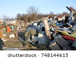 dirty dump full of old ... | Shutterstock . vector #748144615