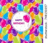 flying glowing balloons...   Shutterstock .eps vector #748150357