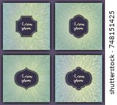 set of mandala background cards.... | Shutterstock .eps vector #748151425
