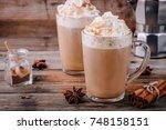 pumpkin spice latte with... | Shutterstock . vector #748158151