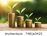 coins with money growing plant... | Shutterstock . vector #748163425