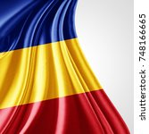 romania flag of silk with... | Shutterstock . vector #748166665