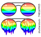 sunglasses rainbow colors... | Shutterstock .eps vector #748169905