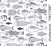 seamless pattern with fishes... | Shutterstock .eps vector #748172887