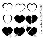 love heart symbol flat icon on... | Shutterstock .eps vector #748174285