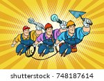 set electrician builder and... | Shutterstock .eps vector #748187614