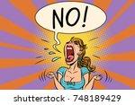 no furious screaming woman.... | Shutterstock .eps vector #748189429