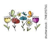 flowers and butterflies  sketch ... | Shutterstock .eps vector #748193761
