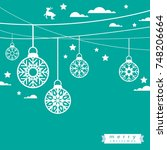 template christmas card  for... | Shutterstock .eps vector #748206664